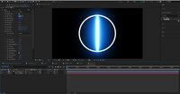After Effectsについて AE初心者です。。。 シェイプレイヤーと無料プラグインの「saber」を使って光る円を作りたいのですが、できませんでした。。。 画像のように設定してみたのですがだめでした。 どうやったら反映されるか教えてください><