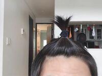 最近前髪の生え際(特に写真の右側)が薄い気がします これは薄いですか?  この前1度髪を短くして、最近伸びてきたのですが短くする前よりも前髪にボリュームが無いと感じています。