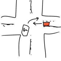 初心者マーク付きのドライバーです。 右折レーンのない片側一車線の道路の交差点で、青信号だったので停止線を超えて交差点内で右折待ちをしていました。 しかし、対向車が絶えず来たため、赤信号になってしまい...
