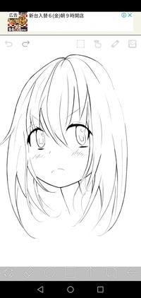 オリジナルキャラ絵の線画を描いてみました 改善点やアドバイスお願いします