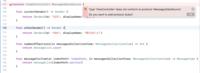 アプリ開発初心者です。 https://qiita.com/shoboo/items/bb3dd56a696c46054297 上記サイトを参考にメッセージアプリを作りたいと思っているのですが。 画像にあるエラーの解決策がわからず悩んでいます。  ...