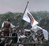 ディスカバリーチャンネルを見ているのですが ドイツ農民戦争(1524–1525)で虹色の旗が象徴だったと言っていました。 なぜ虹色の旗が象徴になったのでしょうか?  ▼こんな旗でした