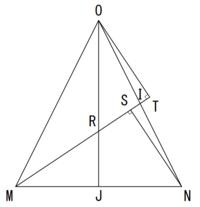 https://detail.chiebukuro.yahoo.co.jp/qa/question_detail/q14214933039 返信もコメントも無かったので、中線定理を知らない場合の解法です。  3元2次連立方程式になりますが、三平方の定理からの超応用問題って事で中学数学に入るでしょうか?  これで質問になったwww  中線定理を知らない場合は  △OIT≡△NI...