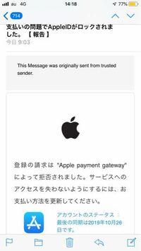 このメールは詐欺でしょうか?今日の朝アップルからアカウントロックのメールが届きました。非常にリアルなメールなので戸惑ってます