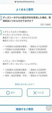 ディズニーランドホテルに詳しい方、教えてください。 公式サイトから、明日から、二泊三日の予約をしました。 今、突然、子供が40度の熱で、行けそうにありません。 キャンセル料なんですが、調べたところ、今日キャンセルすると、キャンセル料は50000円、明日キャンセルすると60000円ということでしょうか? 今日というのは、23:59までに公式サイトで手続きすればいいのでしょうか?