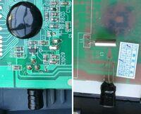 電子部品に関する質問です。 添付写真の黒い丸の中は ICが入っていることがわかるのですが 3端子を持つ昔のコンデンサのような丸く黒い部品と シルバー筒のような部品な何でしょうか? ブザーを鳴らしている...