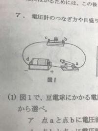 この回路図で電池が1,5Vの時 電圧計はどの-端子に繋げばいいですか?
