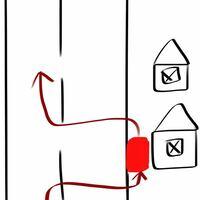 赤い車が道路から家の前に入る時は右ウインカー、道路に出る時に左ウインカーで合っていますか?