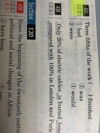 高校英文法 主語 動詞の一致で質問です。 写真 437です。  答えは②was です。  なぜ①hadは違うのでしょうか? 解答には the workが三人称単数扱いをするからwasと書いてありますが,それじゃhad だって選択肢にあ...