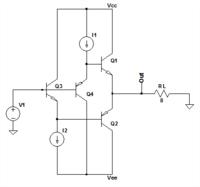 基礎電子回路の問題です。どなたか教えてください。 図はB級出力回路となっている。 この回路にVINという直流電圧を加えて0から徐々に大きくしていった。 その時の出力電圧をVOUTとし、電源電圧をVCCとする。 「負荷抵抗の消費電力PRL 」及び「Q1の消費電力PQ1 」を式で示せ。 また、「PQ1が最大となるVOUTの条件」を式で示せ。 ただし、ICQ1=IRLとし、アイドル電流は...