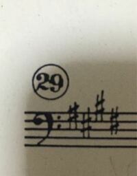 ヘ音記号でこの位置にシャープがついてる曲にはじめて出会ったのですが、この場合どの音にシャープがつくのか教えていただきたいです!