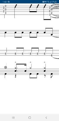 ドラムの16分音符について 下の画像のように16分音符の1つ目と4つ目を打つみたいなのがすごく苦手なのですがなにかいい練習方法ありますか?