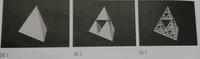 三角錐の中点で区切りながら中を抜き、図1を図2ようにする。これを繰り返し図3のようにする。  図2の三角錐1つの体積は、図1の三角錐の何分の1かという問題がわかりません。  フラクタル図 形の話なのですが、、。 図2では三角錐が4つになっているから4分の1?ではないのですか?  答えは載っておらず分からないです。 どなたかお力を貸してください。答えだけでなく考え方も知りたいの...