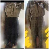 ロングスカートとチェックのズボンどちらの方がいいと思いますか?身長が低いのでロングスカートだとバランスが変でしょうか……スカートはゴムになってるので上からベルトをしようと思ってます。