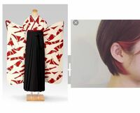 袴に派手髪や派手な色のインナーは合いますか? 色味は上下とも画像左のようなイメージです。   黒髪(ボブorショートボブ)をベースにするのはほぼ決めていますが、折角の機会なので赤のインナーっぽいのを画像右...