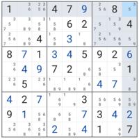 数独(ナンプレ)の手詰まり  各マスにわかる数字を入れ、メモもすべてとっていきましたが、手詰まってしまいました。 次はどうすればよいのか、教えていただけないでしょうか。