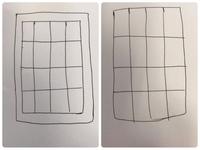 ワードやエクセルに詳しい方 お願い致します。  A4のサイズで 縦4横4の表を作りたいのですが 余白無しで作るにはどうすれば 良いですか?  どうしても、左のように 余白が入ってしまい ます 右のように...