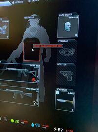 タルコフについての質問です。 初心者なので攻略サイトを見てSCAVで潜った時、初めて敵を倒したのですが敵の装備品を自分に装備できず、持って帰れませんでした。 ARを自分の銃枠に持っていきましたが『cannot equip unexamined item』(写真は武器ではないですが)と表示されて武器も真っ黒でどんな武器か分かりませんでした。  装備できないよという意味なのは分かっていますがなぜ...