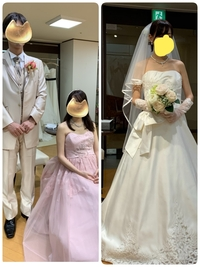 このウェディングドレス、カラードレス、タキシードに合うテーブルクロス、ナフキンのカラー、ブーケ、装花、ヘアメイクなどアドバイス下さい。  テーブルクロスはブラウン、ブーケは白とくす んだピンクなど思...