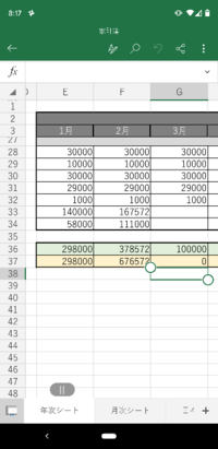 エクセルについて 写真のG37のセルにF37とG36の合計を記入したいのですがどのような関数を打ち込めばいいでしょうか?  具体的には、家計簿を作っています。 毎月の貯金額(列28~34)の合計をを36の列に記載してい...
