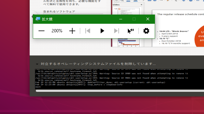 Ubuntuのインストールが終わりません。 仮想OSを通して、USBドライブにUbuntuをインストールしようとしています。そこで問題が発生しました。「対立するオペレーティングシステムを削除して...