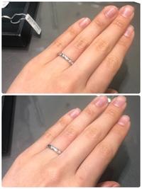 結婚指輪どちらにするか迷っています  ダイアが5石か3石かの違いです  基本毎日着ける予定です   最終的に決めるのは私ですが 迷いすぎて迷走しています どちらが良いか メリットデメ リットなどアドバ...