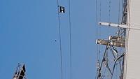 電線の上に写る黒い物体は何だと思いますか? 電線に止まったカラスだと思ったんですが、良く見ると電線がありません。 私が見ていた数分間は全く動かず静止していました。  ※画質がわるい ですが拡大してみ...
