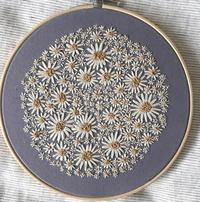 刺繍初心者です。 画像の花の刺繍の花びら部分はどういったステッチでしょうか? レゼーデイジーステッチにも見えず、ただのストレートステッチを2回しているだけでしょうか? お詳しい方、 お教え下さい。よろしくお願い致します。