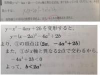 この問題の(1)について 解説では、①がx軸と異なる2点で交わるから、-4a2乗+2b<0とありますが、なぜそうなるのですか?