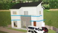 新築中の外壁の雨しみについて。 現在新築中です。 雨上がりは絵の青ラインに沿って、ぐるっと家を囲むように、外壁に2段のシミができます。 これは一般的なことでしょうか。 もし問題であ れば、今から修繕...