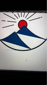 Illustrator超初心者です。 楕円形ツールで円を描き、ペンツールで山を描いたのですが、山の部分を上手く塗りつぶしたいです。 どうしたら塗りつぶせるでしょうか。 Illustratorの仕組みをあまりよくわからないままとりあえず手を動かしているのですが…  途中で詰まってしまい、調べ方が悪いのか答えにたどり着かず困っています。