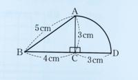 直角三角形 ABC と扇形 CDA をくっつけた図形(下の写真)があります。辺 BD を回転の軸としてこの図形を一回転させてできる立体の表面積を求めなさい。 という問題があるのですがわかりません。答えは33πcmなんですが、この答えにたどり着けません。解説お願いしますm(_ _)m