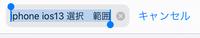 Iphoneをios13にアップデートしてから、URLやツイッターの検索欄のテキスト編集が長押しで出来なくなりました。 タップすると勝手に全範囲が選択されてしまって、長押しすると今までは入力部分 を選べたのですが今ではそれが出来ずコピーなどの選択肢が出てきます。 たとえば「iphone ios13」と検索した文章に「iphone ios13 使い方」などと文章を編集したいのですがどうやれ...