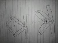 リンク機構で質問です。 図が下手でわかりにくいかもしれませんが、 下記の画像のようなリンク機構の場合 動き方、回転方向は合っていますか。 あるリンクの回転軸が右回りに回転したら、連結しているリンクは反...