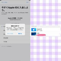Apple IDに入金しようとすると左の画像のようになります。続けるを押すと右の画像のように表示されるのですが、上のiTunesカードの方を押せません。どうすればいいですか…?(画像雑でごめんなさい)