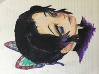 高1女子です 絵の評価お願いいたします クレパスで鬼滅の刃の胡蝶しのぶさんを描いてみました アドバイスなどいただけると嬉しいです!