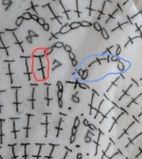 編み方をを教えてください。 ①7段目は赤で囲った長編みからですか? ②7段目の青で囲ったところはどのようにして編むのですか?長編みを普通に編むと次に鎖編みがあるのでよくわかりません。 よろしくお願いします。