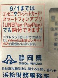 PayPayで自動車税を払おうと思います。 静岡県に住む者です。 自動車税の納付書が届き、PayPayで支払えると書かれております。 これは、PayPayの中のスキャン機能でコンビニなどの店舗に行かなくても払えると言う意味ではないですよね? 例えばコンビニでPayPay残高から、レジで支払いをできると言うことですよね?  PayPayにお金を入れて、万が一使えなかったらとか思ったらちょっと怖...