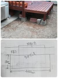 DIY コンクリート 土間仕上げ 今度、ウッドデッキ下をコンクリートにしたいと考えDIYで挑戦しようと勉強中です。 土間範囲は4.1m×1.8mです。厚さは5cm?くらいの予定です。 教えて下さい。 ①セメント量と砂、砕石...