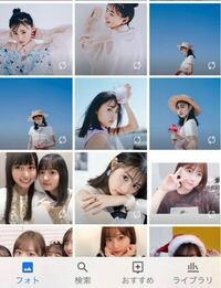 Googleフォトについて質問です。 写真の右下にあるマークはなんでしょうか? 上の方にある写真とすべての動画についています。