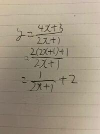 数3についての質問です 分数関数の定義域と値域を求めたいのですが 写真のようになった後に定義域がどうやって-1/2になるのかが分かりません