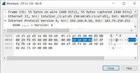 IPヘッダのビット列について  IPヘッダのビット列をWireSharkで確認してみたところ、画像のようになりました。 c0 a8~の部分が私のIPアドレスになるのですが、ここまでに26Byte並んでいることになります。  h...