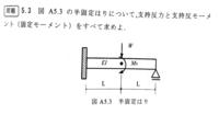 写真の半固定梁の不静定問題で 重ね合わせの原理を使って解きたいのですが分かりません。  詳しくお願いします