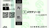 函館1Rのコロガシ添付馬券をどう思いますか?^^  単勝も300円買っています♪  合計2,900円、全財産です!  外れたらATMへ行くか?それかふて寝か? ^^  当たればいいのですが、果たして!?