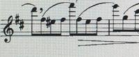 フルートの吹き方について教えてください。  3オクターブ目のファのシャープの音がなかなか出せません。低音から順に吹いていくと音の出やすいのですが、添付のようなときに壁にぶつかっています。 教えていた...