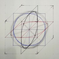 立方体の中にピッタリと収まった球体というのは輪郭が正円になると思うのですが、どのように描けば良いのでしょうか?  絵画デッサン初心者なのですが、疑問に思って作図してみたのですが、い まいち手応えがあ...
