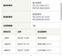 佐川急便についてです。 追跡は写真の通りになっているのですが、九州中継センターの所で3日間輸送中⇒となっていて何も連絡がないです。だいたいいつごろになったら届くのでしょうか、、不安です。