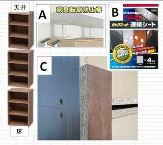 板切れ,カラーボックス,つっかえ棒,連結,木ネジ,棚板同士,細長い鋼鈑