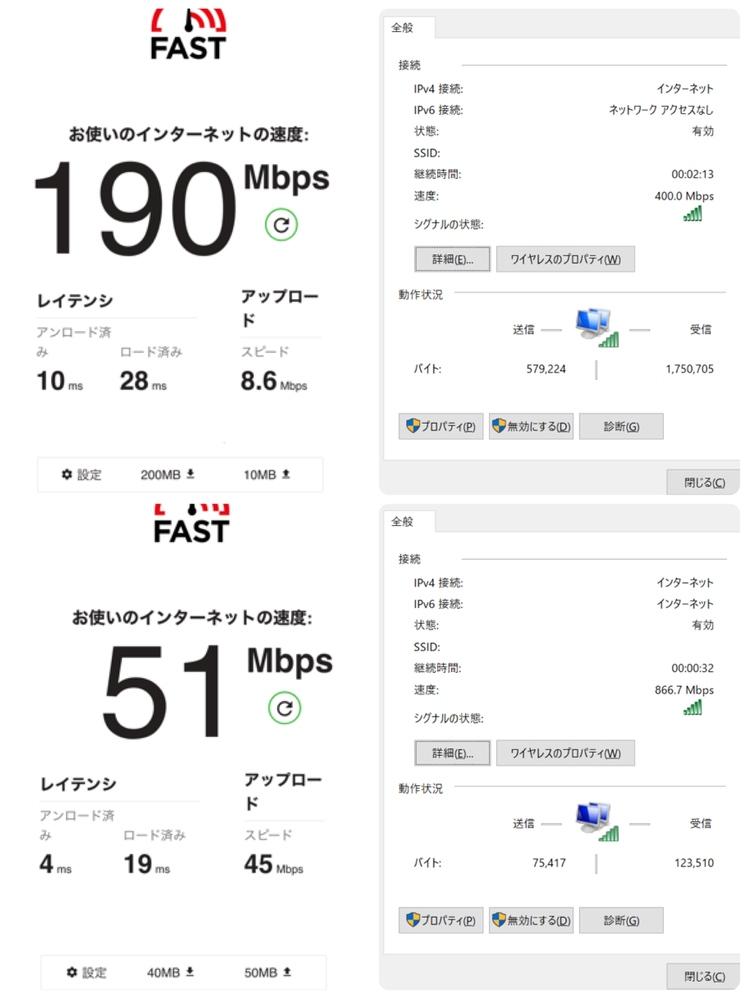 今住んでいるマンションに新しく無料の共用Wi-Fiが付きました。今まで使っていたのはJ:COMの月4,000ぐらいのWi-Fiでした。 iPhoneが速い方と、パソコンが速い方があり、速度等の許容範囲が分か らないので、測定結果を添付するので、どちらにすべきか教えてもらえませんか? 上がJ:COM、下が共用Wi-Fi。 左がiPhoneを繋いだ場合、右がパソコンを繋いだ場合です。 Wi-Fiの使用は、パソコンでは動画の視聴、メール、レポート作成等で500KB以上のWord、Excelファイルなどを複数同時に開くこともあります。 iPhoneはYouTubeと、ゲームはウイイレぐらいしかしません。 AmazonPrimeのfiretvスティックのHDのみのものを優先で繋いでいます。