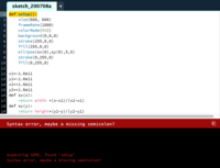 サンプルコードをProcessingにコピペすると以下のようなエラーが出てしまいます。どうしてでしょうか。